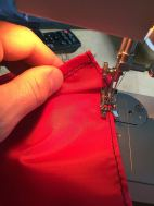 """sewing liner using poliester ripstop, in red to give it """"Dracula look"""" ;-),I've done it the wrong way"""