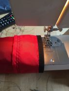 liner pushed all the way to the fold and sewn (just enough space on my machine to fit the tube)