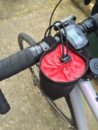 on the bike I've decided to make cuts and hide knots on the bungee underneath velcro for neater look
