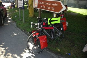 Stage 1 - first objective achieved - signs nicked and secured to our bikes